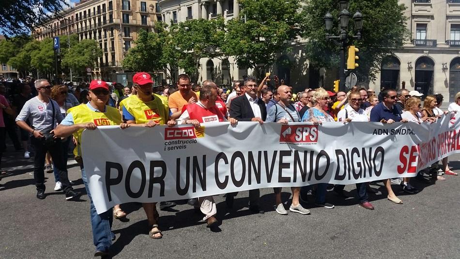 fotos manifestacion ugt ccoo adn en barcelona 28 junio 2017